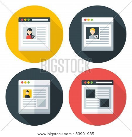Web Page Flat Circle Icons Set