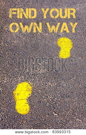 Yellow Footsteps On Sidewalk Towards Find Your Own Way Message