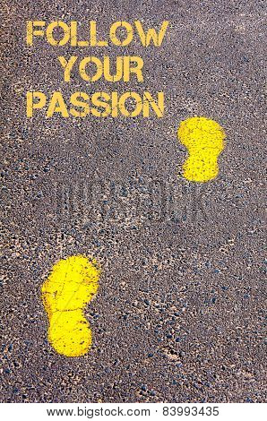 Yellow Footsteps On Sidewalk Towards Follow Your Passion Message
