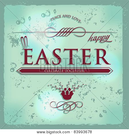 Happy Easter Typographical grunge Background