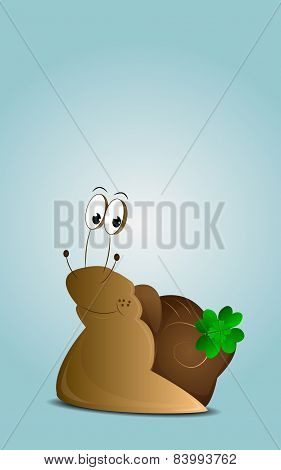 Cartoon happy snail with cloverleaf