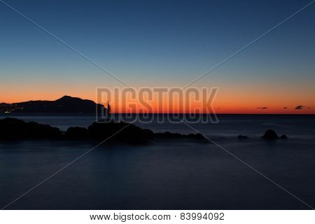 sea, rocks and sunrise