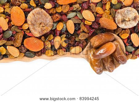 Background Of Dried Fruits, Top View