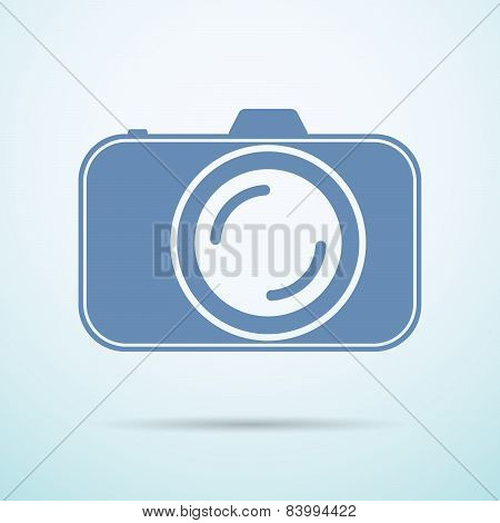 Professional Photocamera Flat Icon On Blue Background