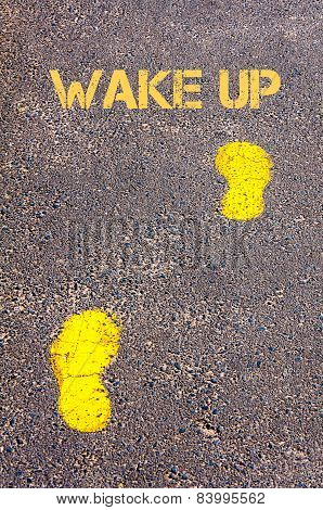 Yellow Footsteps On Sidewalk Towards Wake Up Message