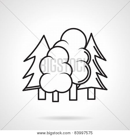 Trees black line vector icon