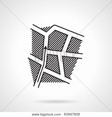 Black line icon for direction map
