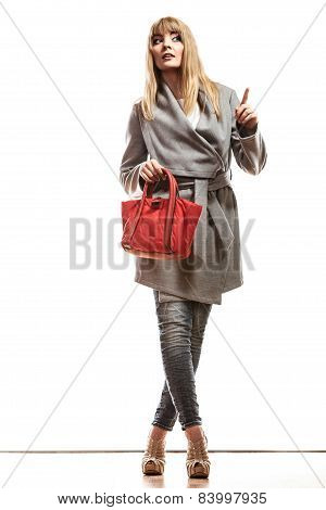 Woman Gray Coat Red Handbag Showing Copy Space