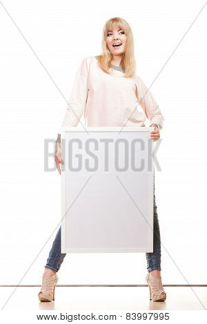 Woman Holding Blank Presentation Board