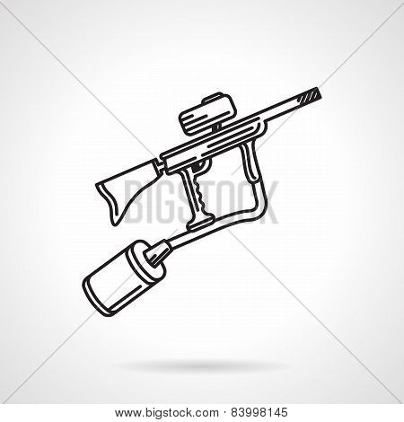 Paintball marker black line vector icon