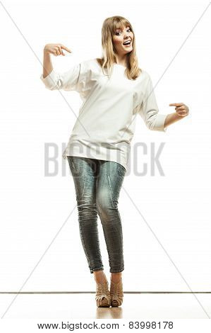 Woman In White Top Pointing At Herself