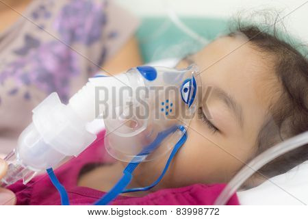 Girl being cured lung infection
