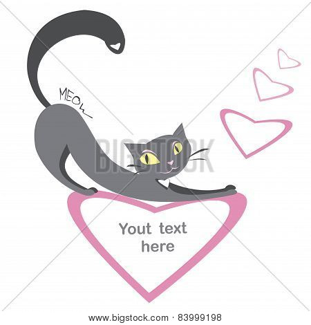 Background With Black Cats And Hearts And Place For Text