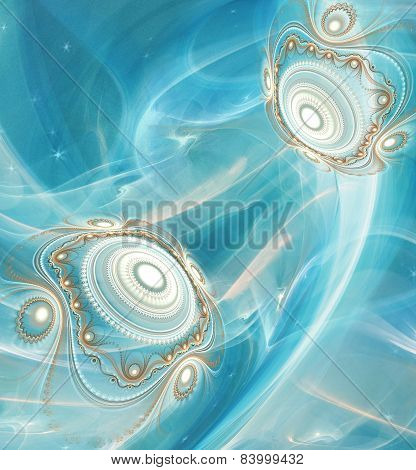 Abstract Fractal background cosmic light spheres planet in ice blue colors