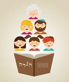 stock photo of passover  - family reading hagada book at passover  holiday - JPG