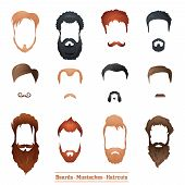 image of rogue  - Beards and Mustaches and Hairstyles set different types of haircuts Vector Illustration - JPG