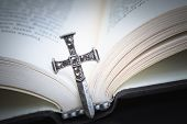 foto of holy-bible  - Christian cross necklace on Holy Bible book Jesus religion concept as good friday or easter festival - JPG