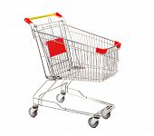 stock photo of four-wheel  - Empty Metal Retail Purchases Shopping Cart from the Supermarket on Four Wheels at the White Background - JPG