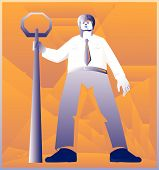 image of policeman  - vector illustration of a policeman police officer standing with stop sign done art deco retro style - JPG