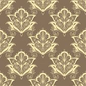 picture of dainty  - Vintage seamless paisley floral pattern with dainty beige contoured persian flowers on light brown background for wallpaper or textile design - JPG