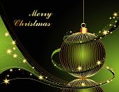 picture of welts  - Merry Christmas background made of gold and green decorations - JPG