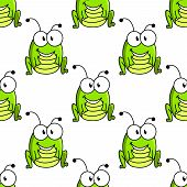 picture of googly-eyes  - Seamless pattern of funny cartoon green grasshopper isolated on white background suitable for childish decor or fairytail design - JPG