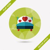 foto of flat-bed  - Wedding Couple Bed Flat Icon With Long Shadow - JPG