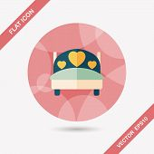 picture of flat-bed  - Wedding Couple Bed Flat Icon With Long Shadow - JPG