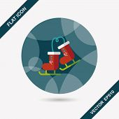 picture of ski boots  - Ski Boot Flat Icon With Long Shadow - JPG