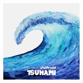 picture of blue  - Watercolor ocean tsunami waves - JPG