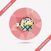 pic of gift basket  - Christmas Gift Baskets Flat Icon With Long Shadow - JPG