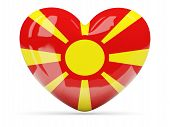 picture of macedonia  - Heart shaped icon with flag of macedonia isolated on white - JPG