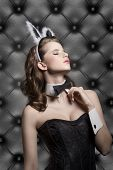 picture of ester  - beautiful brunette female in sensual pose in glamour ester shoot with bunny ears corset and black papillon wearing like sexy playgirl - JPG