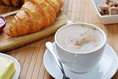 picture of croissant  - Fresh Crusty Croissant with jam and coffee on table - JPG