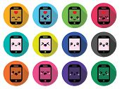 image of kawaii  - Vector icons set of smartphone Kawaii isolated on white - JPG