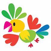 stock photo of parrots  - Children vector illustration of flying funny bright parrot - JPG