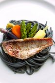 pic of mullet  - Red mullet fillet vegetable and ink pasta - JPG