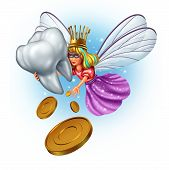 picture of fairies  - Tooth fairy character as a mythical and magical princess wearing a golden tooth brush crown from a childhood fairytale holding a human molar tooth and giving money coins as a reward - JPG