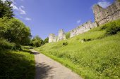 stock photo of chepstow  - chepstow castle monmouthside wales starting point of the long distance footpaths the offas dyke path and the river wye valley walk - JPG
