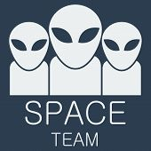 picture of alien  - Vector alien team on blue background - JPG