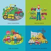 picture of machinery  - Tractor driver design concept set with road engineering farm and construction machinery flat icons isolated vector illustration - JPG