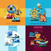foto of amusement park rides  - Amusement park design concept set with gaming entertainment attractions water and extreme rides flat icons isolated vector illustration - JPG