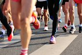 stock photo of competing  - Marathon running race - JPG