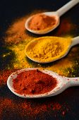 image of garam masala  - Set Of Three Cooking Spoons With Spices On Black Background - JPG