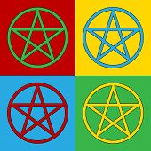 foto of pentacle  - Pop art pentagram symbol icons - JPG