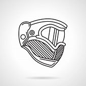 stock photo of paintball  - Flat line design vector icon for paintball protection helmet with mask on white background - JPG