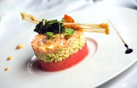 foto of gourmet food  - Delicious and beautiful gourmet food on dish  - JPG