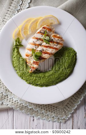 Grilled Chicken And A Side Dish Of Green Peas, Vertical Top View