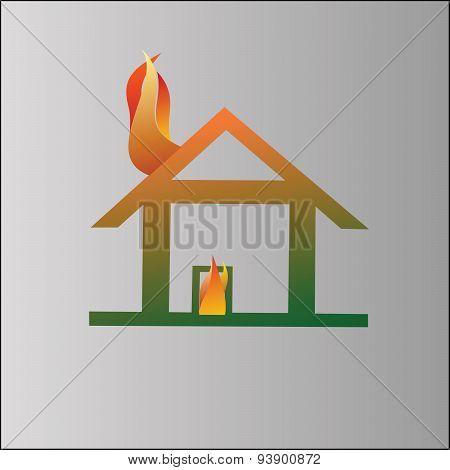 Burning house symbol