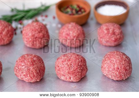 Raw meatballs fresh meat